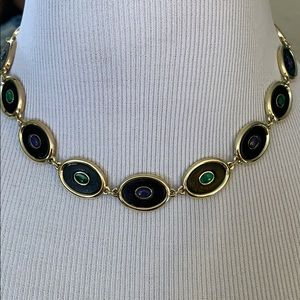 House of Harlow lapis and malachite choker
